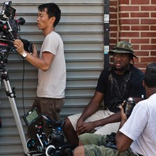 Director of photography, Sung Rae Cho and writer/director Jono Oliver. (Photo by: Albert Massiah).